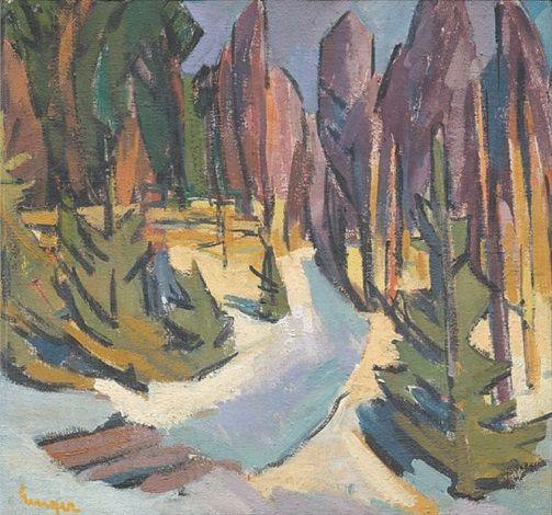 Erling Enger (Norwegian, 1899 - 1990), Abstrakt landskap, oil on canvas, 70 x 75 cm.