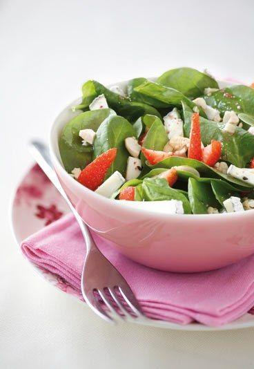 Ensalada de espinacas con frutas y queso de cabra - Recetas light: recetas de cocina light