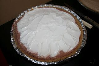 Chocolate Pudding Pie, no sugar added...  only 4 Weight Watcher points for 1/8th of the pie!