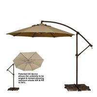 Tobago Cantilever Umbrella (10 Octagon) w/stand - Outdoor Umbrellas for Patios, Backyards, and Gardens