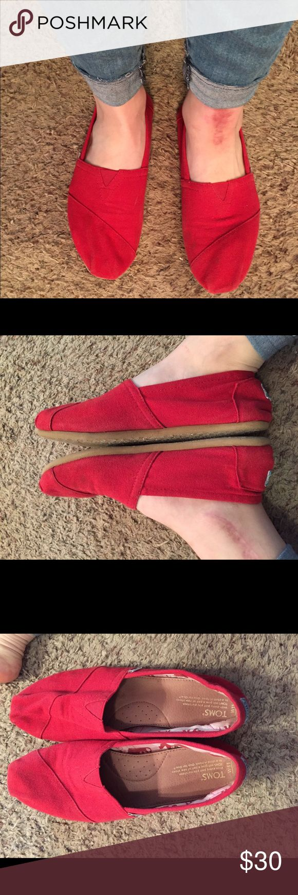 Red TOMS 11 Great shoes, haven't worn them in a year or so, but are still in great condition! No stains or smells. Size 11. TOMS Shoes Flats & Loafers