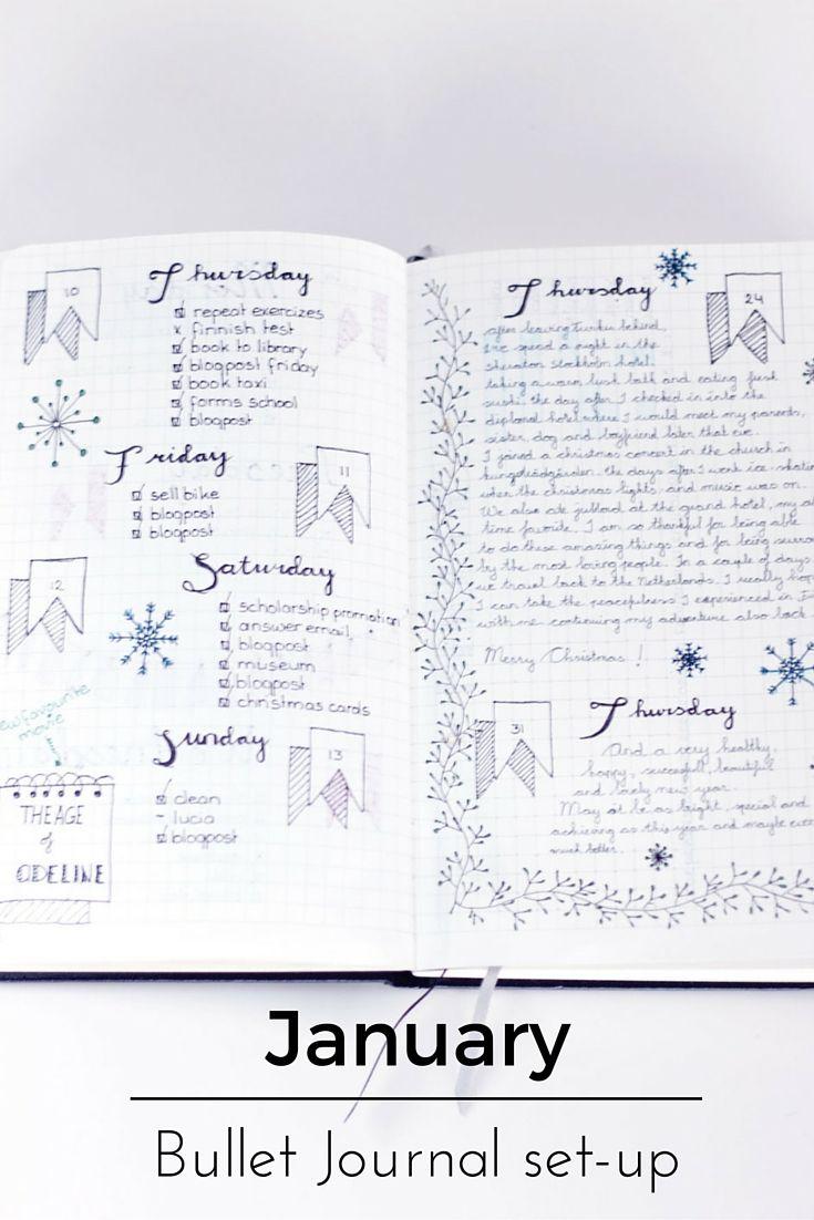 Original pinner sez: How I set up my Bullet Journal for January, great inspiration.