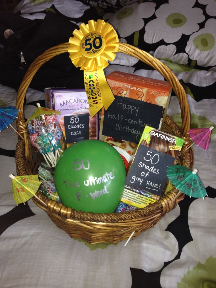 Fun 50th birthday gift basket for my mom. I just filled it with some of her favorite things as well as added some humorous puns I found online about being 50 years old.