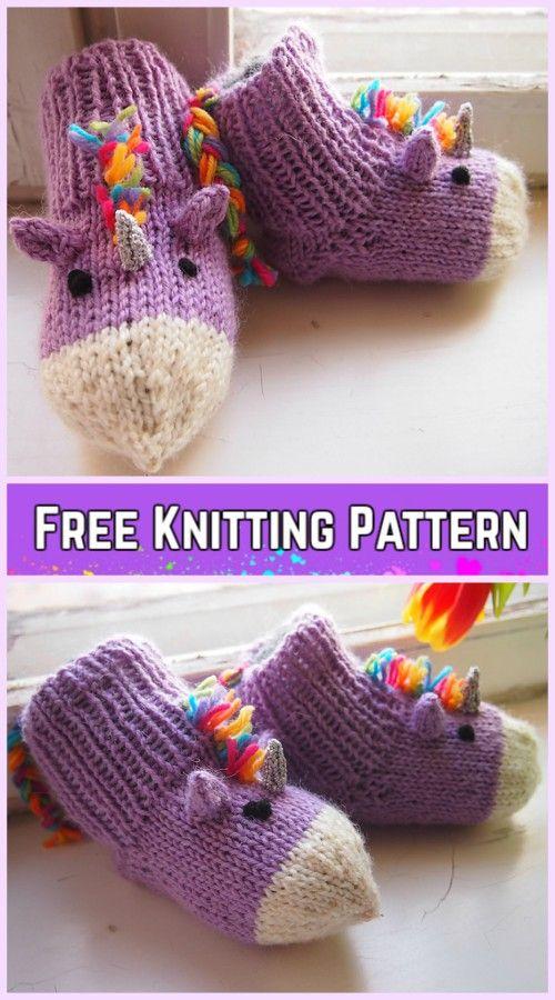 24094dfbd49a Knit Unicorn Socks Slippers Free Knitting Pattern