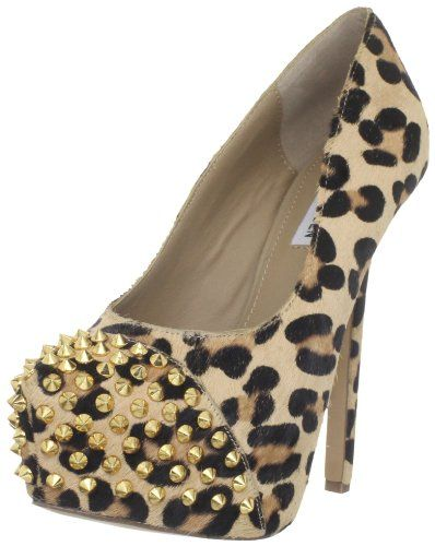 Sexy high heel leopard prom shoes 2014 by Steve Madden with gold studs Bolddd Pump
