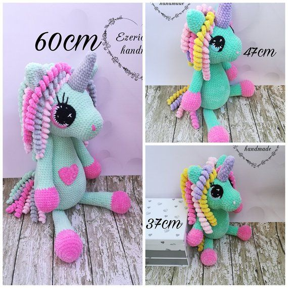 Ezerioszka 47cm Set of three unicorns english crocheting patterns medium and small unicorn three size of unicorns big 60cm 37cm