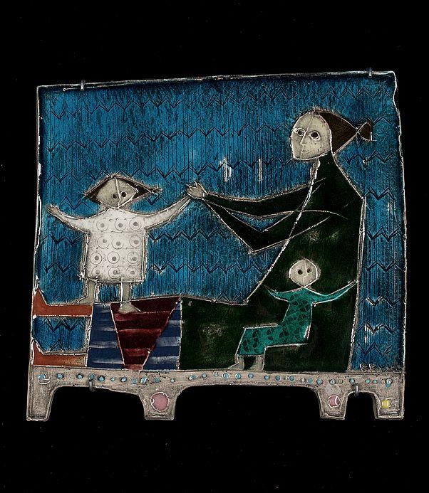 Rut Bryk; Glazed Ceramic Wall Relief for Arabia, 1950s.