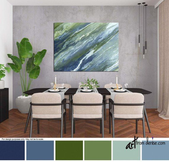 Navy blue olive green canvas wall art, Abstract living room wall decor, Above bed art, Dining room p