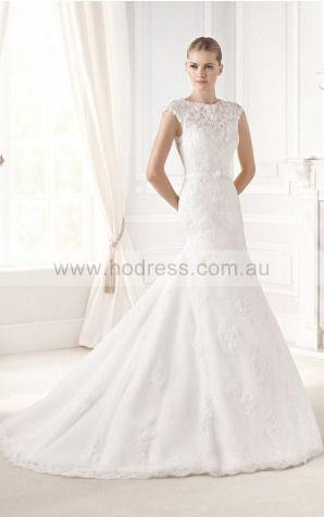 Mermaid Cap Sleeves Jewel Buttons Chapel Train Wedding Dresses fvbf1100--Hodress