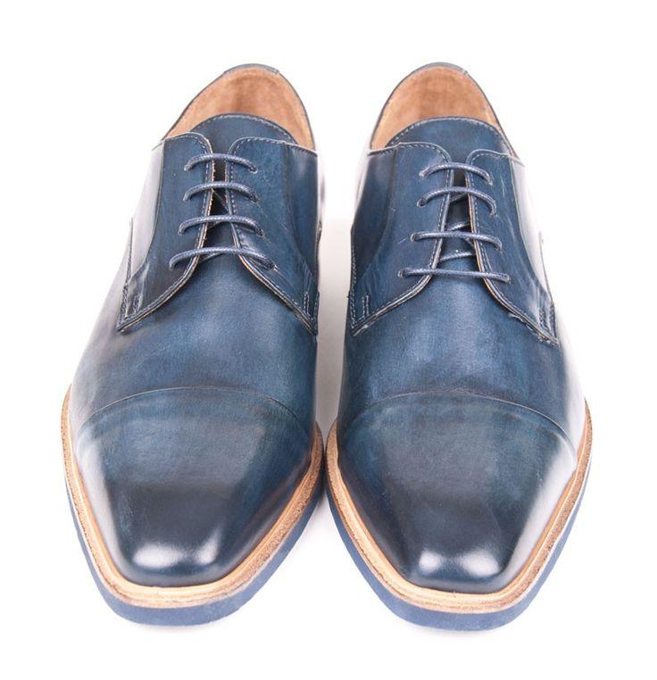 Giovanni Marquez Stylish Men's Shoes -  Lace-Up - Dark Blue Designer Shoes for Men