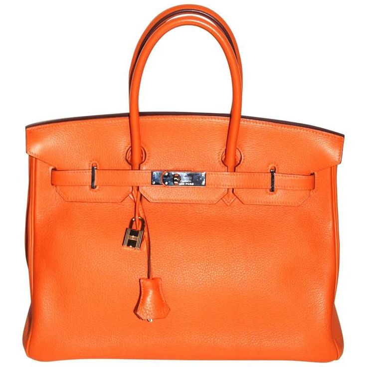 Hermes Birkin 35 Orange Togo Leather Palladium Hardware