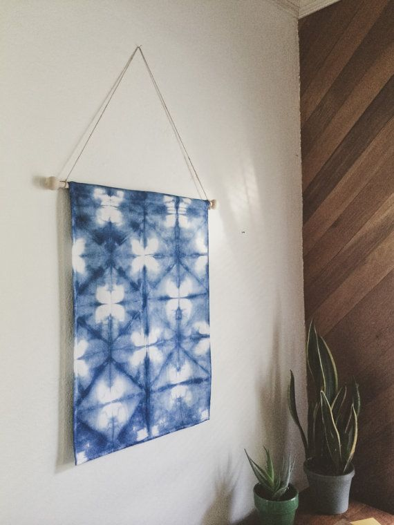 Four Leaf Clover Indigo Shibori Wall Hanging by EarnestDryGoods