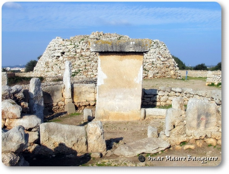 """Taula at Trepuco with contemporary Talaiot """"watchtower"""". They are all over Menorca and Majorca. Trepuco is just outside Mahon (Mao) Menorca Spain. c.Bronze Age,"""