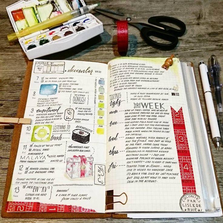 """✏ TN Week 50 #midoritravelersnotebook #travelersnotebook #midori #tn…"
