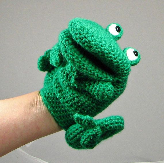 Puppet Gloves Knitting Pattern : Crochet pattern: make a Frog Hand Puppet / Glove puppet - INSTANT DOWNLOAD .pdf
