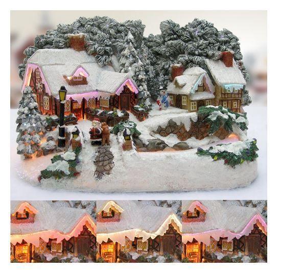 #ebay #Christmas #Snow #Village #Santa #Raindeer #Fiber #Optic #LED #House #Holiday #Decor