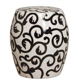 Ceramic Garden Stool With Vine Design