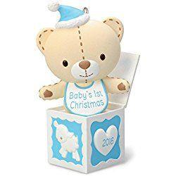 Hallmark 2016 Christmas Ornament Baby Boy's First Christmas Teddy Bear in the Box Ornament
