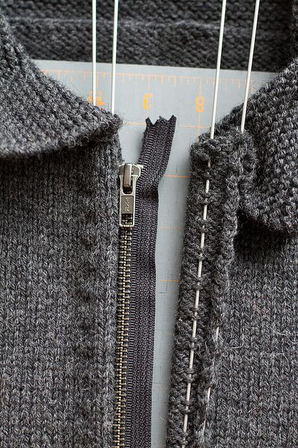 sweater install zipper tutorial by splityarn, via Flickr