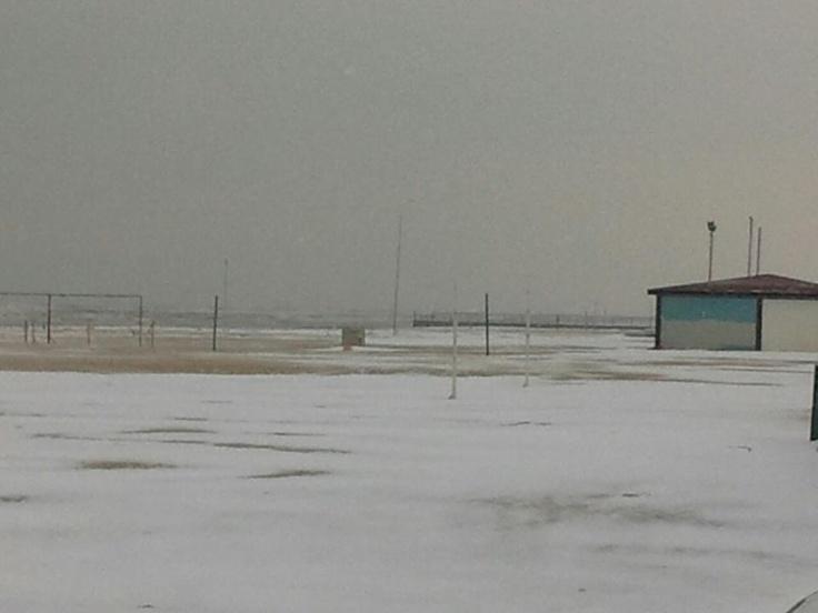 Poteva mancare la neve sulla spiaggia ?