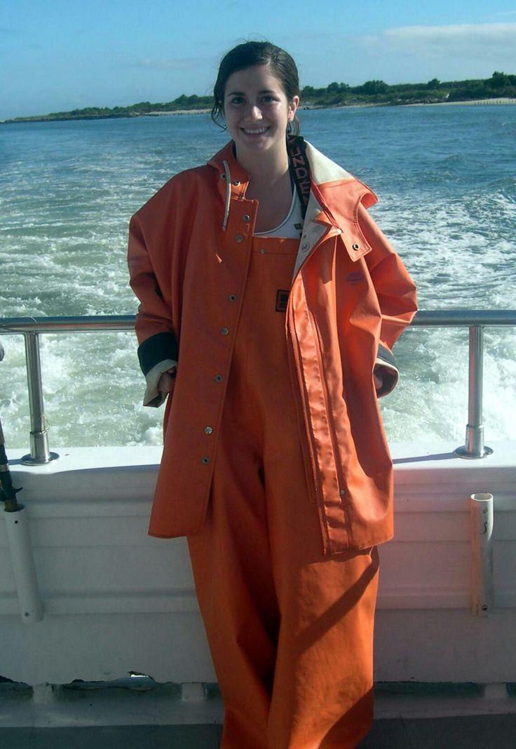 Orange pvc rain suit