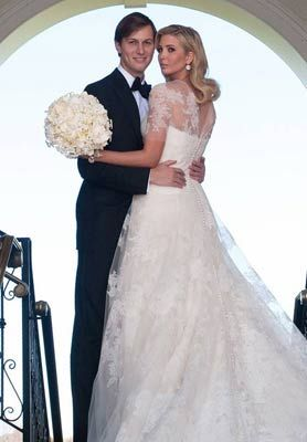 Ivanka Trump wore a custom Vera Wang wedding dressinspired by the gown Grace Kelly wore. (my niece wore Ivanka's dress for her wedding last year....not kidding!!)