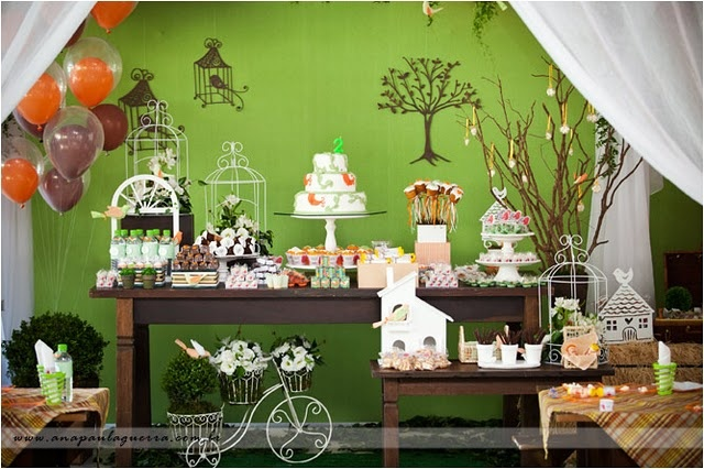 NATURE THEMED LITTLE BIRDIE PARTY DESSERTS TABLE