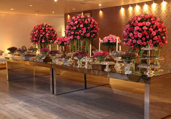 An elegant wedding and wedding party in Sao Paulo, Brazil. This is the table with delicious wedding sweets.