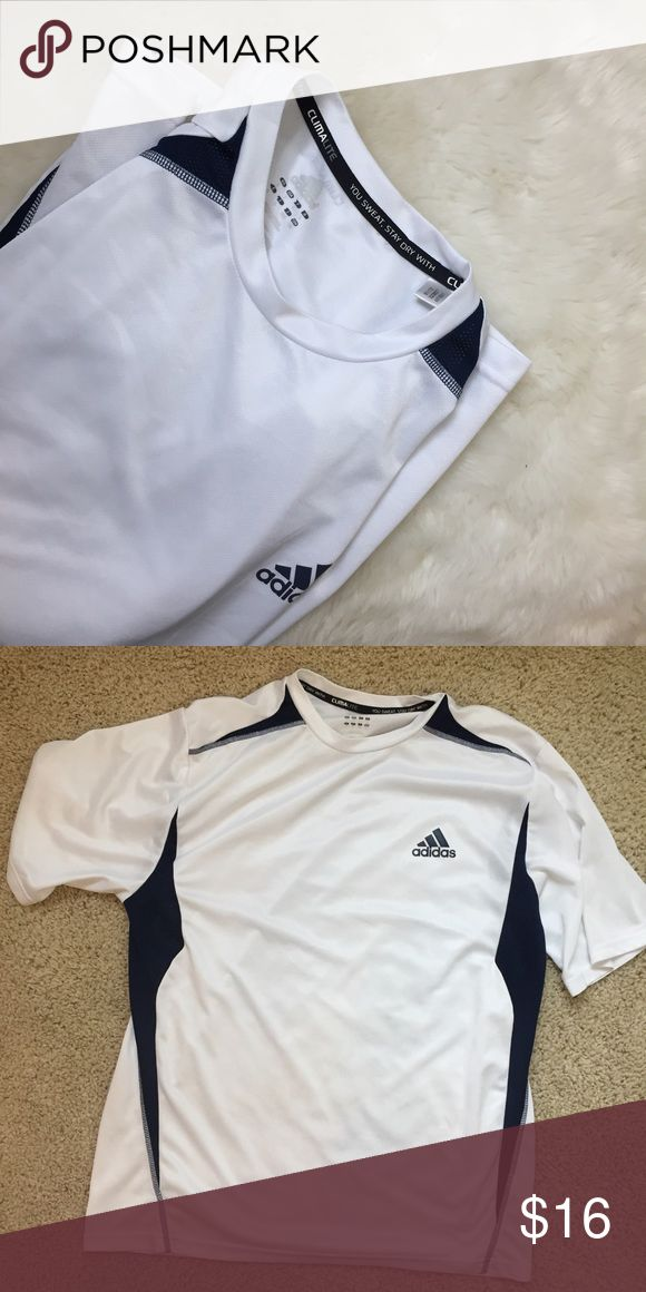 WHITE ADIDAS WORKOUT SHIRT Great used condition! Questions? ask below! Adidas Shirts Tees - Short Sleeve