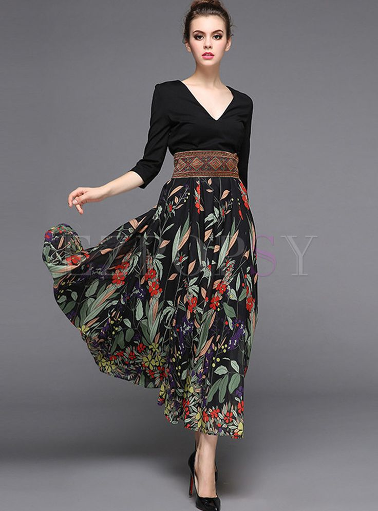 Shop for high quality Stylish Stitching High Waist Maxi Dress online at cheap prices and discover fashion at Ezpopsy.com