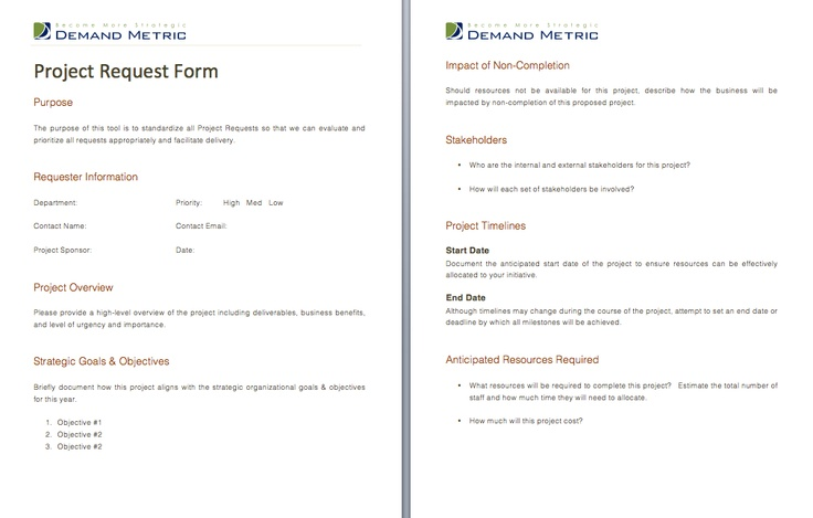 Project Request Form - A form that standardizes and documents - project request form