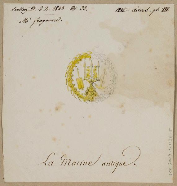 FRAGONARD Alexandre Evariste ; manufacture de Sèvres Titre Elément décoratif [Attribut, la marine antique]