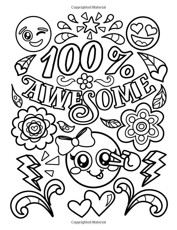 Amazon Com Emoji Coloring Book For Girls Of Funny Stuff Inspirational Quotes Super Cute Animals 3 Words Coloring Book Quote Coloring Pages Coloring Books