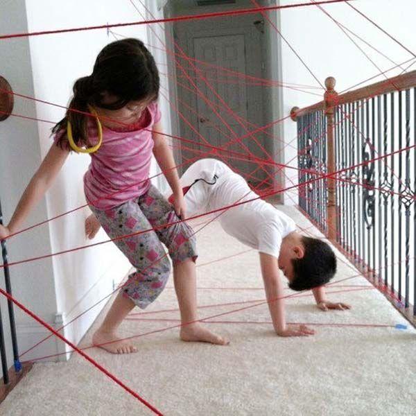 21.) Got yarn? Let kids crawl through a safe playground you create.