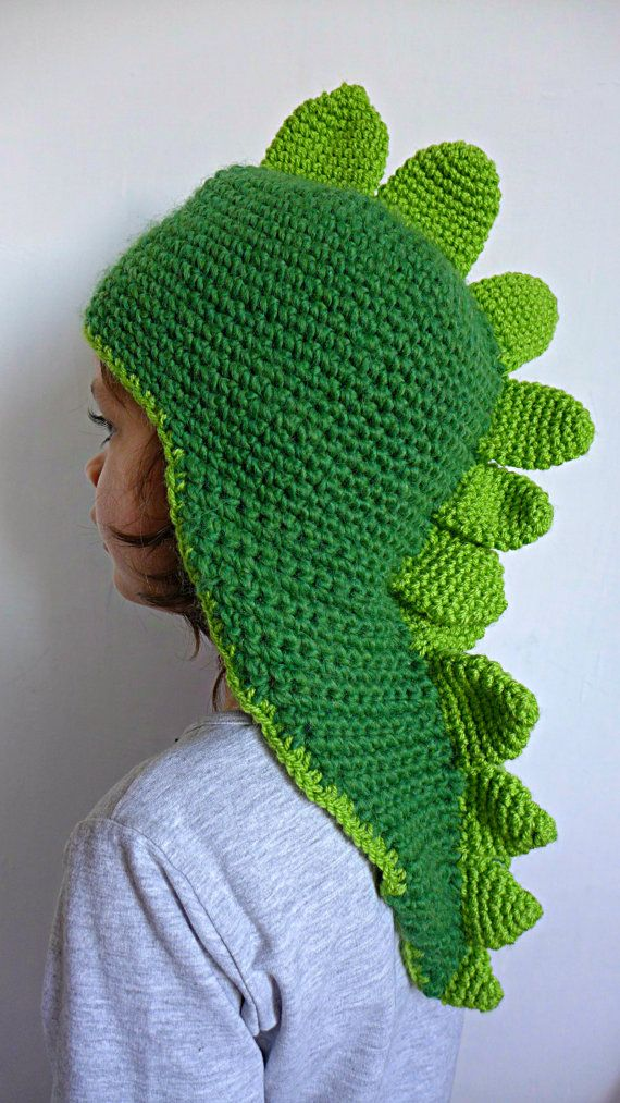 Crochet dinosaur dragon green beanie slouchy hat by Hookloopsarah