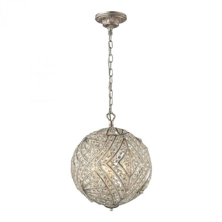 "Elk Lighting 16239/5 17"" 5-Light Crystal Orb Pendant in Aged Silver"