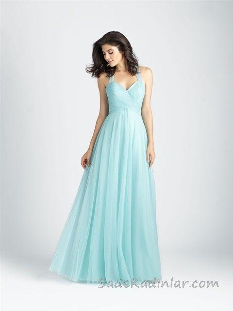 84773feb68fd7 Uzun Abiye Elbise Modelleri Düğünlerin Vazgeçilmez Kıyafetleri Su Yeşili  Uzun Askılı Tül Etekli