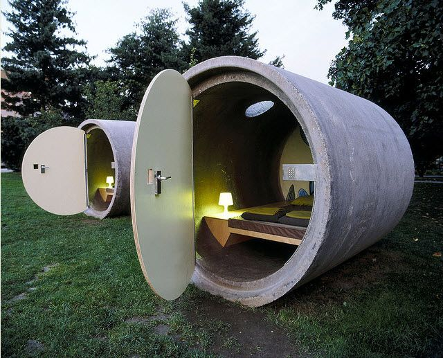 Hotel rooms made from discarded drain pipes. Environmental Tourism! https://www.recyclebank.com/live-green/three-unique-hotels-made-recycled-material/