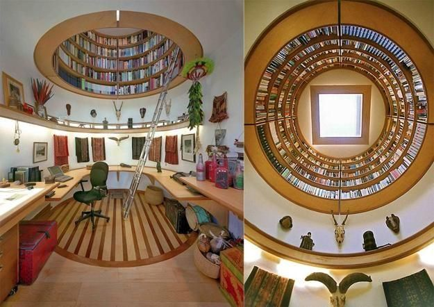 Our ceiling can double as your library, Climb the ladder of wonders to pick your next read from this circular ceiling library. It is a fab library that you just need to have.