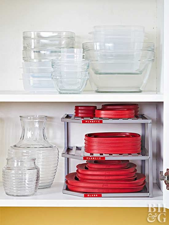 Sort your lids by size or container type, and arrange them on a three-tier shelf as you see fit.