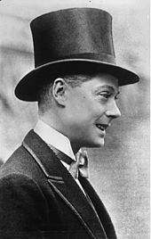 Edward VIII (1894 - 1972). Prince of Wales from 1910 to 1936, when he became king. He abdicated to marry Wallis Simpson.