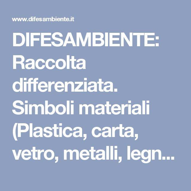 DIFESAMBIENTE: Raccolta differenziata. Simboli materiali (Plastica, carta, vetro, metalli, legno e materiali compositi