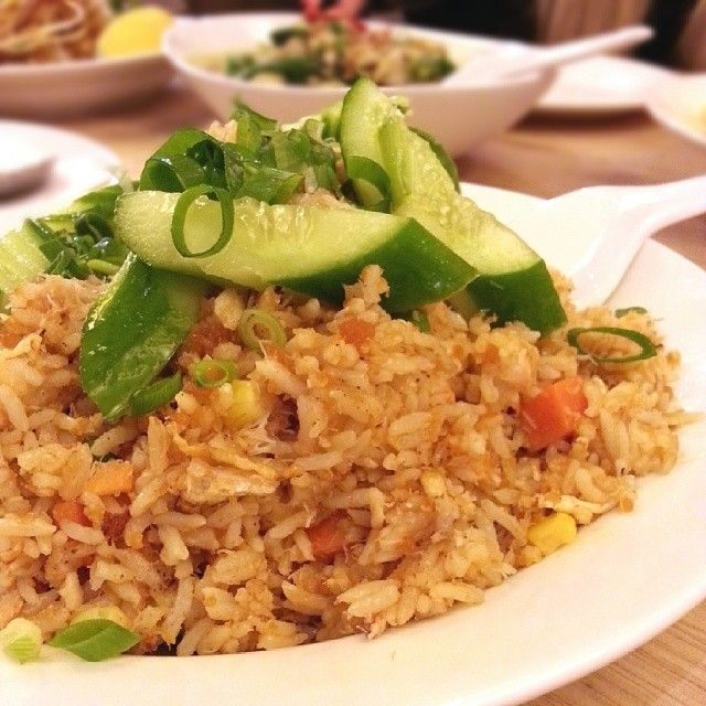 Crab meat fried rice: fried rice with crab meat, onion, tomato, garlic, Chinese broccoli, shallots, lime and shrimp paste. Yummy but had lots of crab shell bits. #holybasil - @theveryhungrykaterpilla- #webstagram