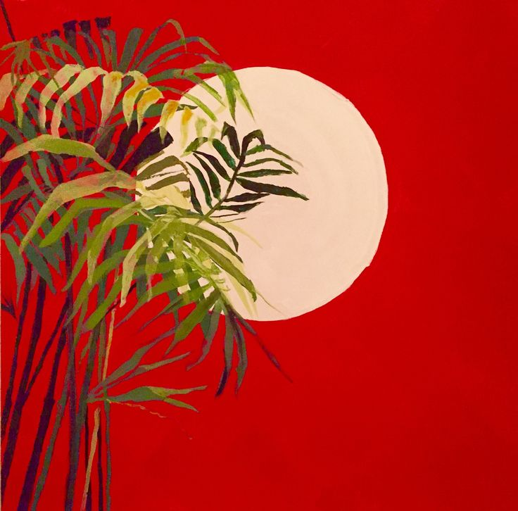 "For Sale: Red sky with bamboo  by Mark ""TRUCK JULIUS"" Jones   $400   24""w 24""h   Original Art   https://www.vangoart.co/mark-truck-julius-jones/red-sky-with-bamboo @VangoArt"