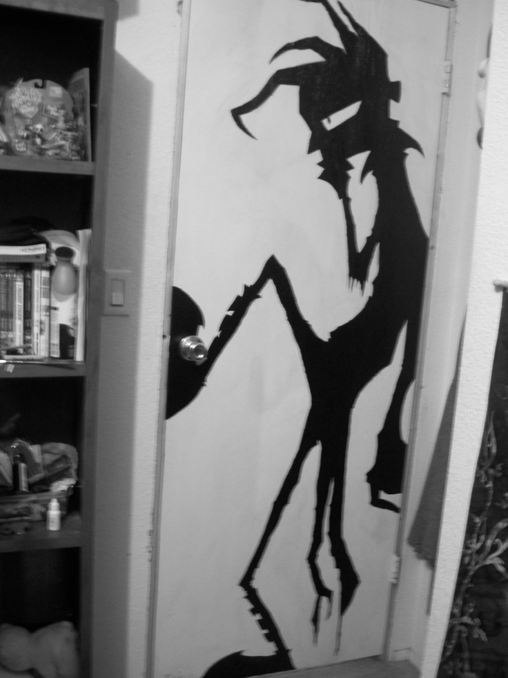 I painted this, on my door, because I'm just that awesome.   Nny (Johnny) from Johnny the Homicidal Maniac.