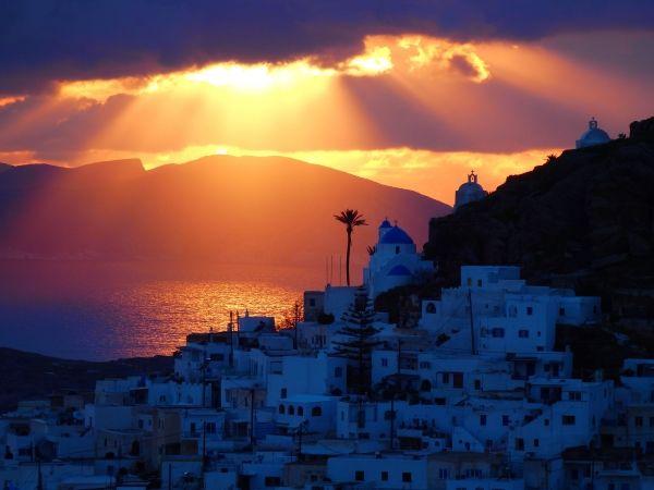 Mystic lighting over Ios island