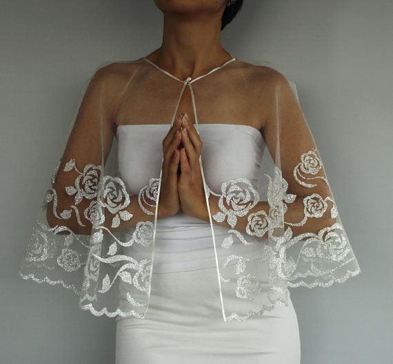 Silver Gilded Tulle Bridal Cape Weddings Dress by MammaMiaBridal, $68.00