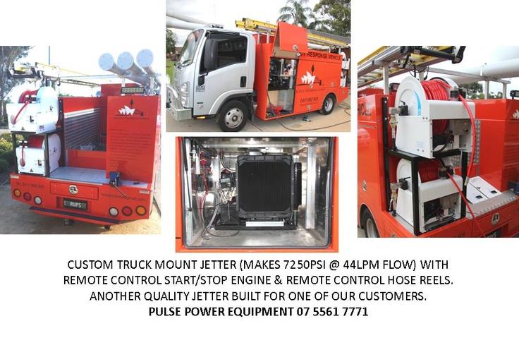 Custom truck mount water jetters.    Built by Pulse Power Equipment Qld.  07 5561 7771  www.pulsepowerequipment.com.au  http://stores.ebay.com.au/PULSE-POWER-EQUIPMENT-07-5561-7771?_trksid=p4340.l2563