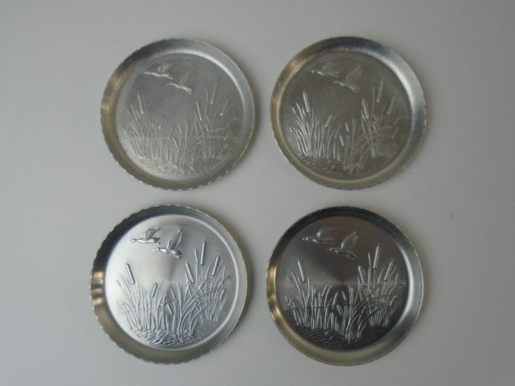 Set Of 4 Vtg Aluminum Coasters Geese Cattails Farmhouse Hunting Cabin Decor