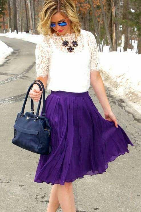 Pintas De Elegante Moda Moda Elegantes Estilo Callejeros Púrpura Mi Pasarela Bonitos Trajes Callejera Falda Prendas Trajes wIOwxSHg